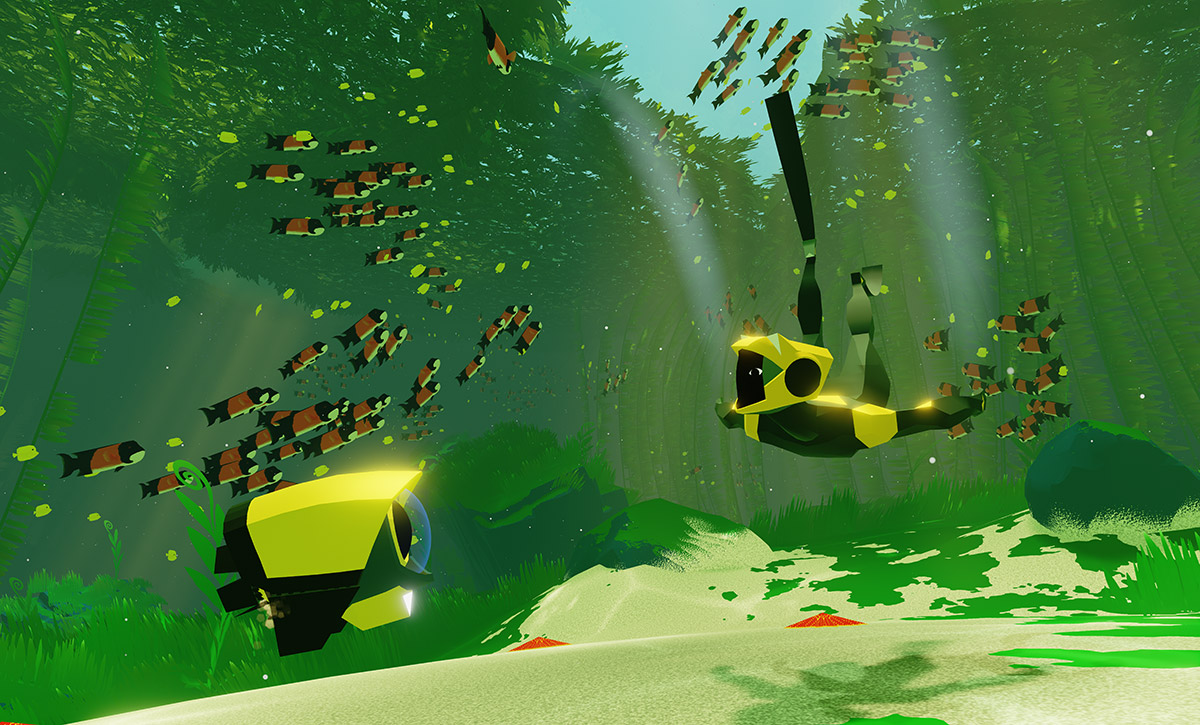When you ping your robot buddies, they playfully respond with little flips and chirping noises. Just imagine if WALL-E could swim.