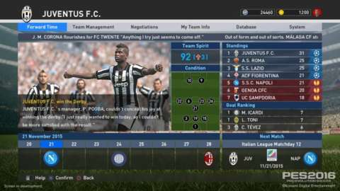 The Master League redesign adds in a calendar and news headlines, and the overall presentation will seem familiar to Football Manager fans.