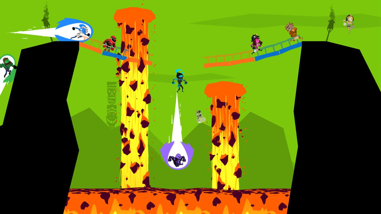 As the background changes colors, platforms disappear, leading to unexpected nose dives into lava, spikes, and other hazards.