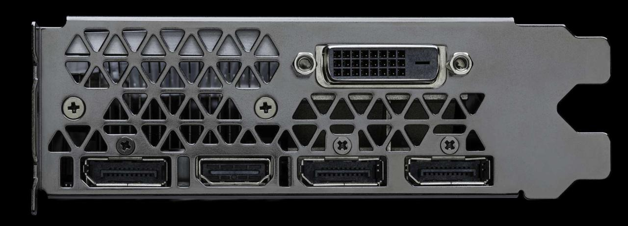 Like the GTX 1080, the 1070 features three DisplayPort connectors, one HDMI port, and one dual-link DVI port.