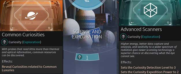 New Eras of Science and Exploration (on the left you can see the first level) and new technologies (on the right) will help you to detect and send expeditions. - Exploration and Curiosities in Endless Space 2 - Gameplay basics - Endless Space 2 Game Guide