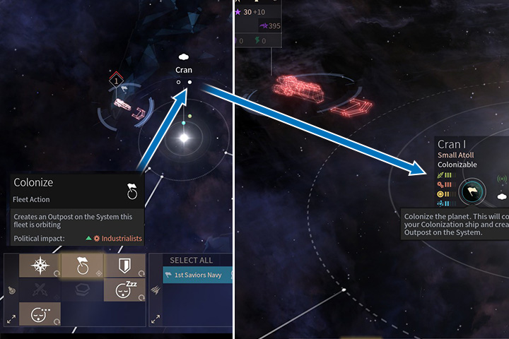 A colonizing ship can be the first step to take over a system. The best way to do that is to choose friendly planets as your targets. White circles under system names can suggest you which planets can be inhabited. - Colonization, migration and evacuation in Endless Space 2 - Gameplay basics - Endless Space 2 Game Guide
