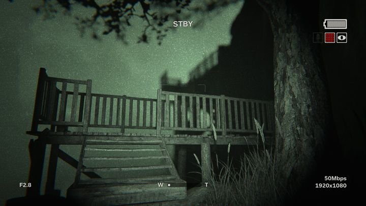 If you dont immediately use the steps presented in the picture above and instead check the rocky ledge behind you, you can find bandages - The Lake | Lamentations | Walkthrough - Lamentations - Outlast 2 Game Guide