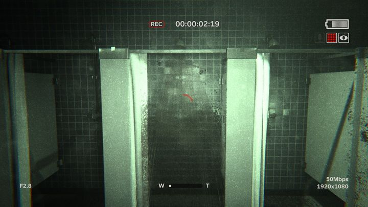 Enter the womens toilet right next to the pool - Raining Blood | Lamentations | Walkthrough - Lamentations - Outlast 2 Game Guide