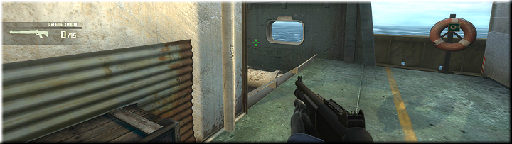 You can find a set of stairs beyond this corner that end with a narrow passageway along the deck - Mission 2 Shipped Up Close and Personal - Missions - Counter-Strike: Global Offensive Game Guide
