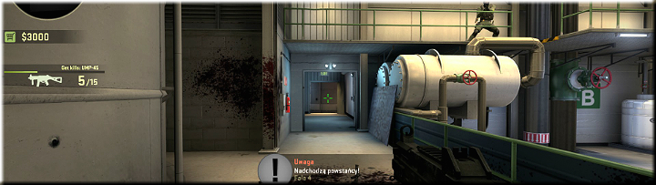 The screenshot above contains an extended corridor that may be used by the approaching enemy - Mission 3 Lite Lite It Up - Missions - Counter-Strike: Global Offensive Game Guide