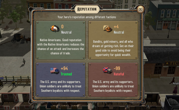 Your current Reputation can be checked at any - Reputation and factions | Hints - Hints - Bounty Train Game Guide