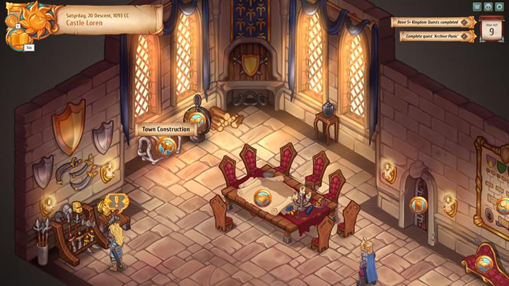 Click on the chest in the main hall of the castle to switch to building view. - City and building mechanics - City Management - Regalia: Of Man and Monarchs Game Guide
