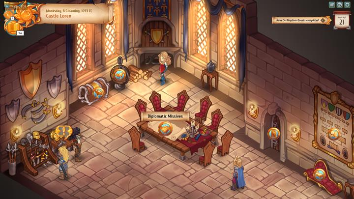 Diplomatic problems from the gameworld can be considered in the castle. - Diplomacy - City Management - Regalia: Of Man and Monarchs Game Guide