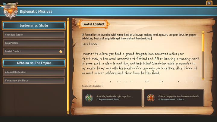 You will be able to side with either side. - Diplomacy - City Management - Regalia: Of Man and Monarchs Game Guide