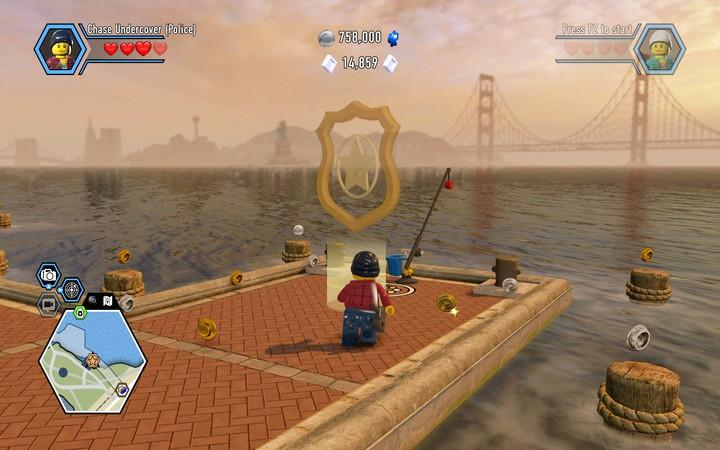 The next mission starts on the pier, where you take the boat from - Apollo Island | Walkthrough - Chapter 7 - LEGO City: Undercover Game Guide
