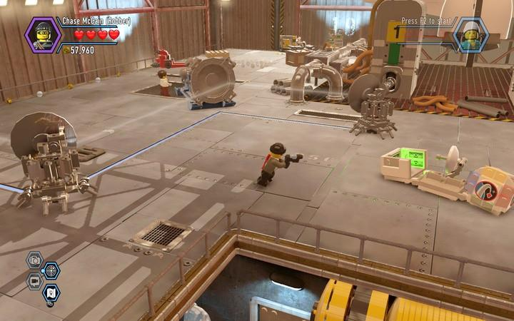 The key thing is to rotate and color elements that will allow you to reflect the beam. - The hangar | Walkthrough - Chapter 7 - LEGO City: Undercover Game Guide