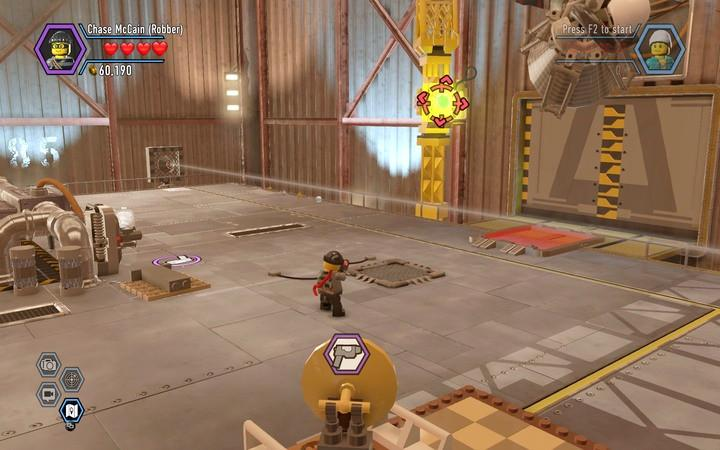 First, unblock the beam by destroying obstacles in its path - The hangar | Walkthrough - Chapter 7 - LEGO City: Undercover Game Guide