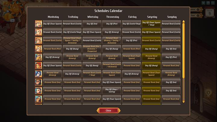 The schedule in the game is crammed. The calendar shows where you can meet certain characters throughout the week. - Game-time passage and available actions - Gameplay Basics - Regalia: Of Man and Monarchs Game Guide