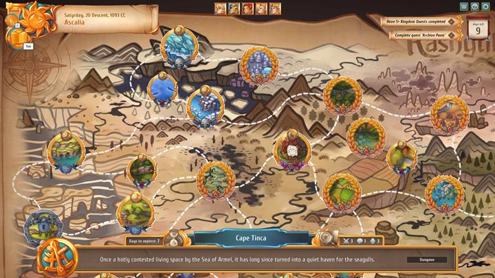 Hovering the cursor over a location will allow you to see how many days does it require to explore it. - Game-time passage and available actions - Gameplay Basics - Regalia: Of Man and Monarchs Game Guide