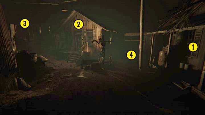 To explore the lower level, go behind the building marked in the picture - Temple Gate Town Square | Genesis | Walkthrough - Genesis - Outlast 2 Game Guide