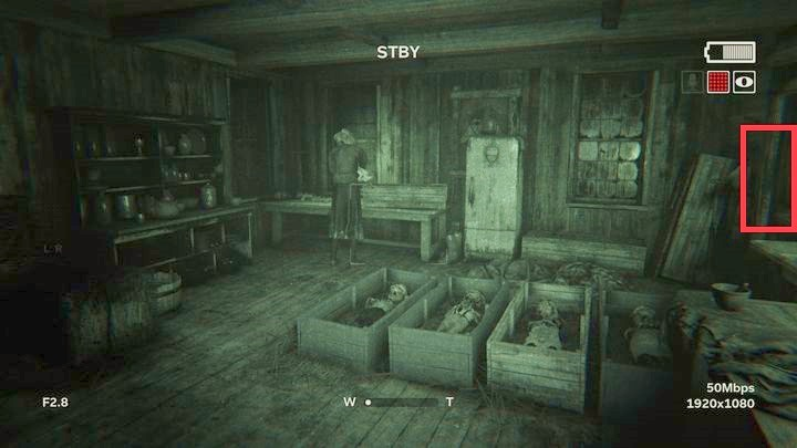 At the top of the wooden tower, there is a battery - The Road to the Mine | Genesis | Walkthrough - Genesis - Outlast 2 Game Guide
