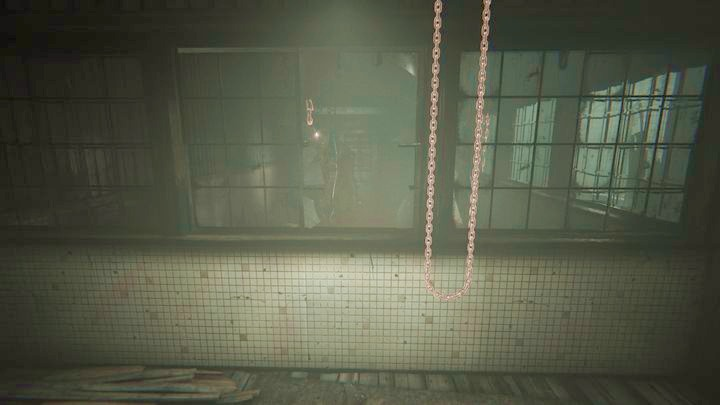 Move to the side wall and use the chain to move the mechanism - The Road to the Mine | Genesis | Walkthrough - Genesis - Outlast 2 Game Guide