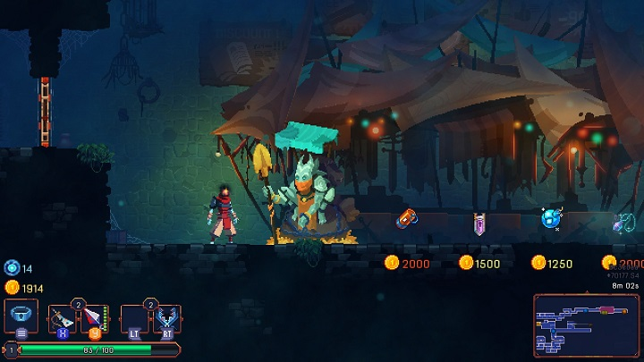 Each area (except for the boss arenas) consists of two repeatable pieces - a shop and a chamber with treasure chests - Tips for a good start | How to start in Dead Cells? - How to start? - Dead Cells Game Guide