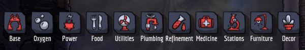 The building menu is divided into the following tabs - The Building Menu, Jobs for duplicants - Interface - Oxygen Not Included Game Guide