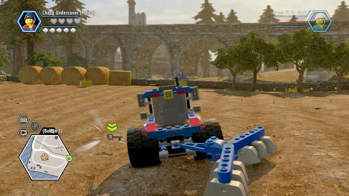 Use the tractor and find the key among the plants in the field - The Farm | Walkthrough - Chapter 9 - LEGO City: Undercover Game Guide