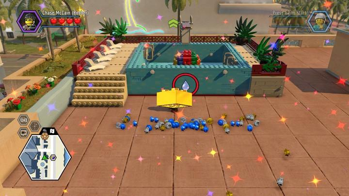 The only purpose of building the swimming pool is to obtain the colorful ball from the inside. - Way to the hall | Walkthrough - Chapter 11 - LEGO City: Undercover Game Guide