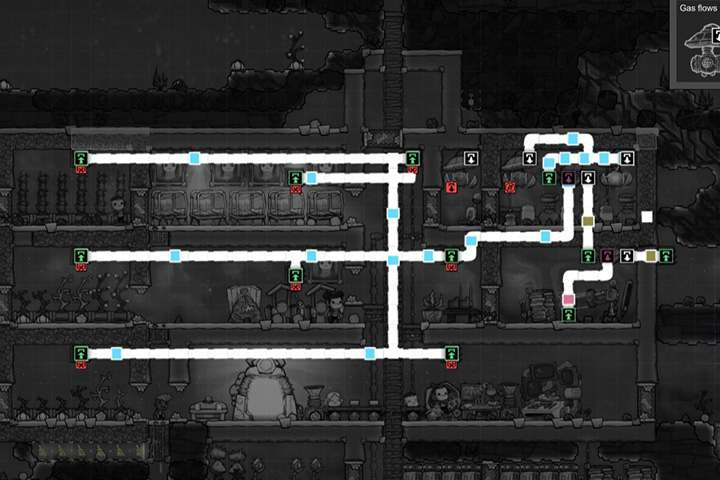 An exemplary infrastructure and distribution of gases. - Plumbing - Description of objects and structures - Oxygen Not Included Game Guide