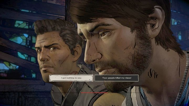 This takes place during the interrogation in chapter three - Important choices   Episode 3 - Episode 3: Above the Law - The Walking Dead: The Telltale Series - A New Frontier Game Guide