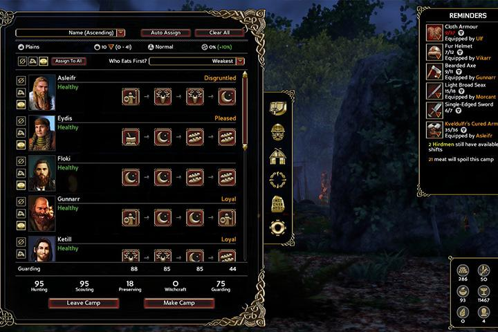 Each party member should be assigned work to do - Navigating the world map and camping - The Basics - Expeditions: Viking Game Guide