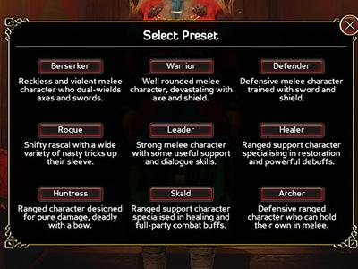 There are several pre-sets included in the game. - Character creation and statistics - The Basics - Expeditions: Viking Game Guide