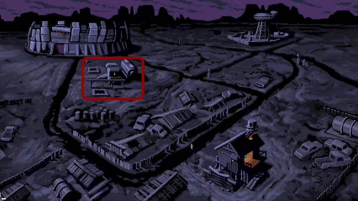 Go to the left and on the map of the area that appears when you do, and then select the trailer (on the left) - Help Mo fix the bike | Chapter One Walkthrough - Chapter One | Full Throttle Remastered Walkthrough - Full Throttle Remastered Game Guide