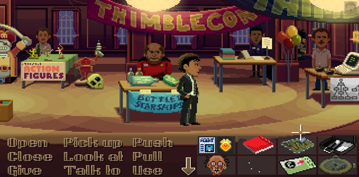 On the convention there are many interactions and an important conversation with Brant. - Part 4 - The Will / Part 5 - The Reading | Walkthrough - Walkthrough - Thimbleweed Park Game Guide
