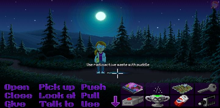 Use the radioactive waste on the puddle and follow the trail. - Part 6 - The Factory | Walkthrough - Walkthrough - Thimbleweed Park Game Guide