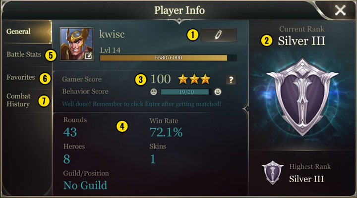 Here you can find details of your account and outcome of matches - Game menu in Strike of Kings - Game Guide - Strike of Kings Game Guide