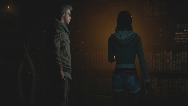 Theres a button behind the books which fell from the shelf on their on - Episode 3 | Walkthrough - Walkthrough - Until Dawn Game Guide & Walkthrough