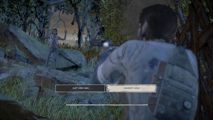 After a short monologue, youll face another determining choice - Chapter 2 - Unexpected Guests   Episode 1 - Episode 1: Ties that Bind - Part 1 - The Walking Dead: The Telltale Series - A New Frontier Game Guide