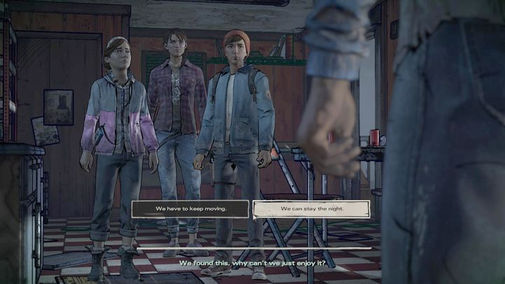 The first important choice regards the events on the junk yard - Important choices | Episode 1 - Episode 1: Ties that Bind - Part 1 - The Walking Dead: The Telltale Series - A New Frontier Game Guide