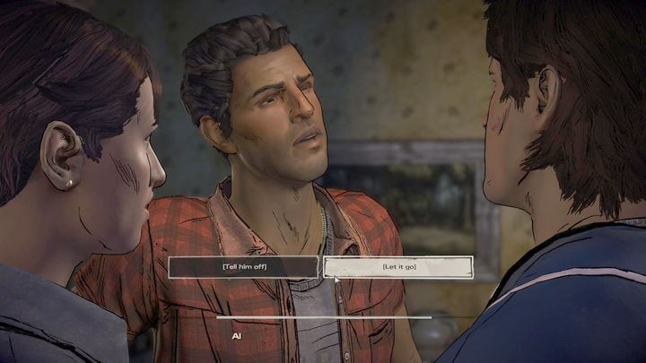The important choice comes after the talk - Chapter 1 - Bloody Business | Episode 2 - Episode 2: Ties that Bind - Part 2 - The Walking Dead: The Telltale Series - A New Frontier Game Guide