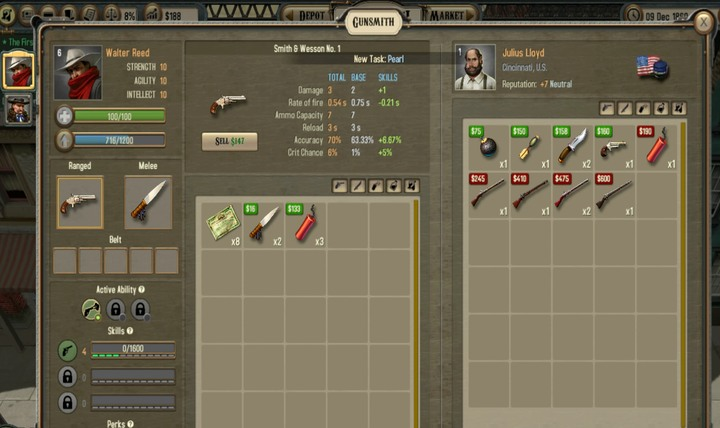 At the gunsmiths you can buy new pistols and rilfes, as well as explosives. - Combat | Hints - Hints - Bounty Train Game Guide
