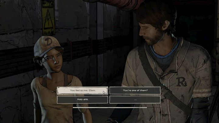 After the flashback, Clem will confess her acquaintance with New Frontier to Javi - Chapter 5 - Rough Justice | Episode 2 - Episode 2: Ties that Bind - Part 2 - The Walking Dead: The Telltale Series - A New Frontier Game Guide