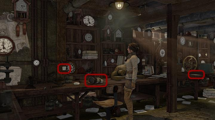 Make a close-up of the table with the prosthetic, and take a look at the note left by Sara (screenshot above) which reminds Steiner to take his medicine - Steiners medicine | Chapter three | Walkthrough - Chapter three - Syberia 3 Game Guide