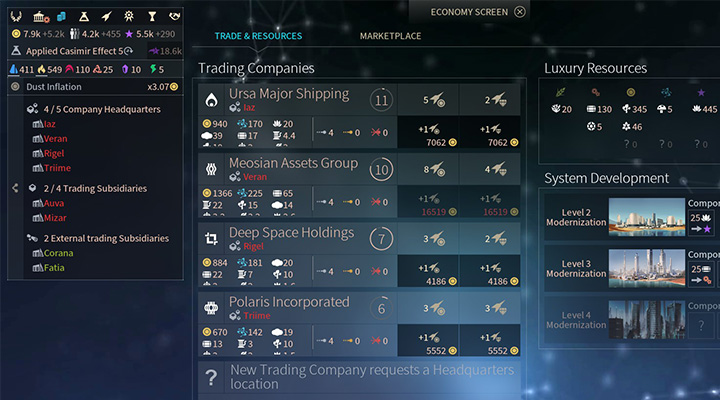 After building your first company you can quickly build a new one. - Trading Companies and Marketplace in Endless Space 2 - Gameplay basics - Endless Space 2 Game Guide