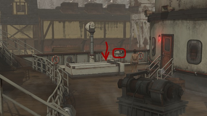Leave the bridge and the quarterdeck - the best way is to use the door near the stairs that leads to the ferry - Load the coal on the Krystal | Chapter three | Walkthrough - Chapter three - Syberia 3 Game Guide