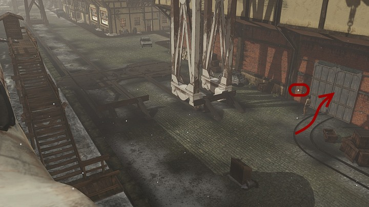 The hangar and the crane that were mentioned by the captain are in front of the stairs that leads to the ferry - Load the coal on the Krystal | Chapter three | Walkthrough - Chapter three - Syberia 3 Game Guide