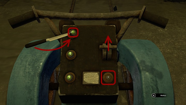 In order to deal with this problem you must use the knife on the upper left button - you must not only get in under the button, you must also lever it up (by making a slight move with your mouse - down and then right) and then take the button - Load the coal on the Krystal | Chapter three | Walkthrough - Chapter three - Syberia 3 Game Guide