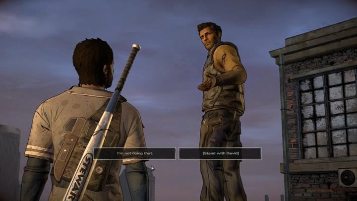 The first major choice takes place at the beginning of the third chapter - Important choices   Episode 5 - Episode 5: From the Gallows - The Walking Dead: The Telltale Series - A New Frontier Game Guide