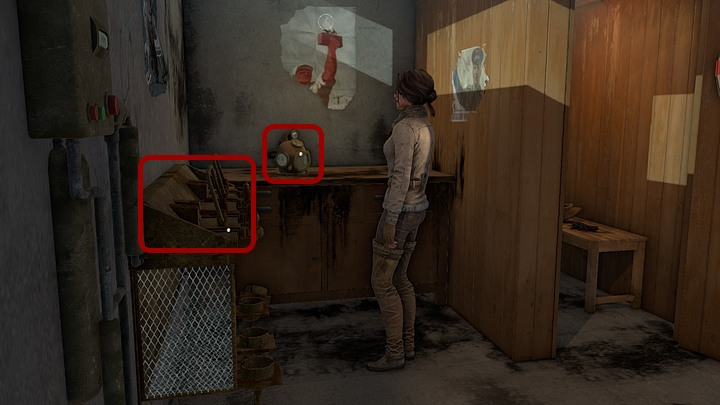 Go further into the shed and take the quite archaic diving helmet - Assemble and prepare the diving gear | Chapter three | Walkthrough - Chapter three - Syberia 3 Game Guide