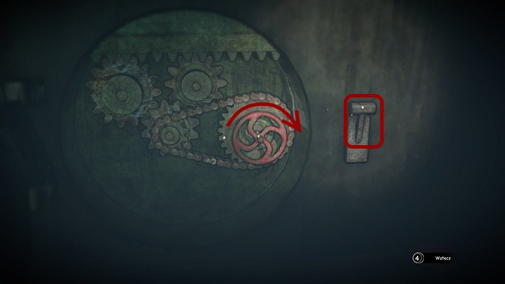 Place the chain between the valve and the lower gear (the active point is on the left of the gear to which the valve is attached; if you have not put the gears in the correct positions yet, the picture above shows where exactly they should be placed) - Open the two locks | Chapter three | Walkthrough - Chapter three - Syberia 3 Game Guide