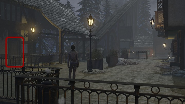When on the square, head for the building on the left - Return to the hospital | Chapter three | Walkthrough - Chapter three - Syberia 3 Game Guide