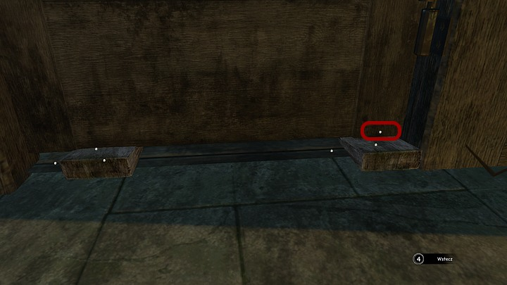 Look closely at the crevice under the door and slide in the wedges, first the small one to the left, then a normal one right beside it (a new active point will appear) - Return to the hospital | Chapter three | Walkthrough - Chapter three - Syberia 3 Game Guide